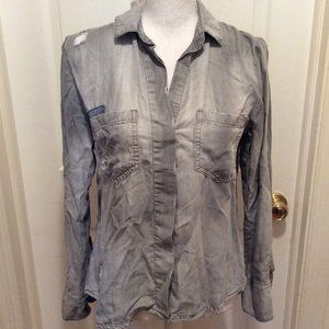 Cloth & Stone Blouse XS Gray Distressed